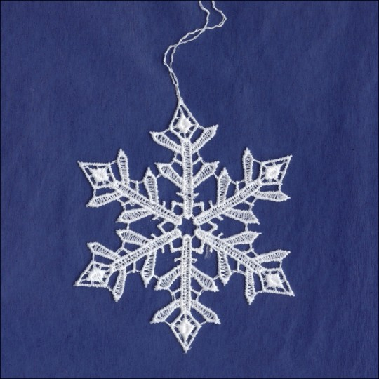 White Lace Pointed Snowflake Ornament ~ 3""