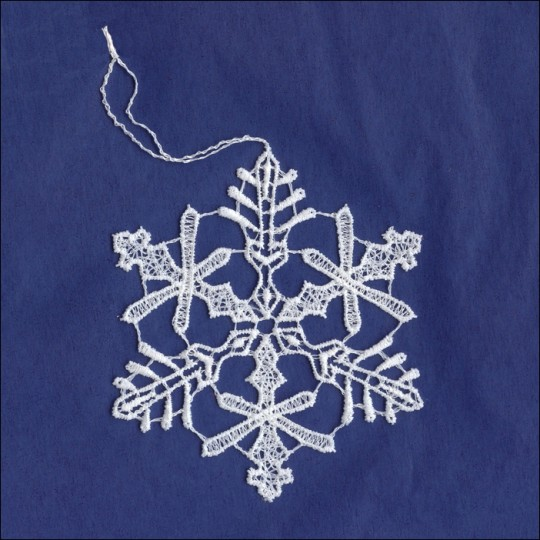 White Lace Trifoil Snowflake Ornament ~ 3-1/4""