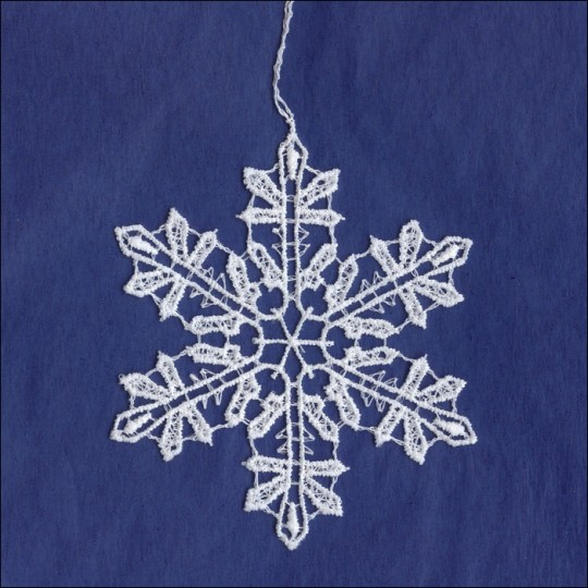 White Lace Classic Snowflake Ornament ~ 3-1/8""