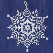 White Lace Delicate Snowflake Ornament ~ 4-1/4""