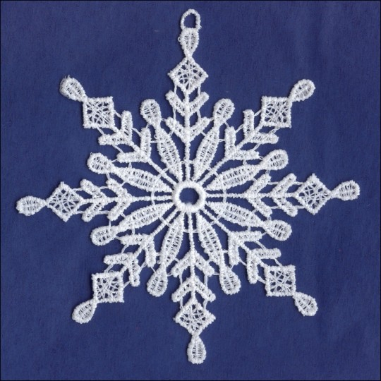 White Lace Classic Snowflake Ornament ~ 4""