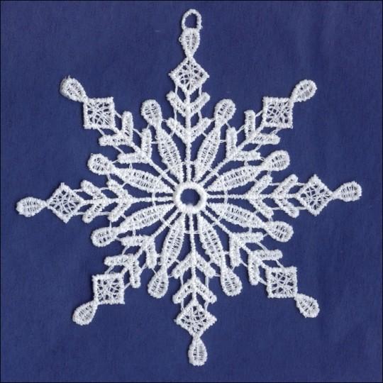 """White Lace Classic Snowflake Ornament ~ 4"""""""