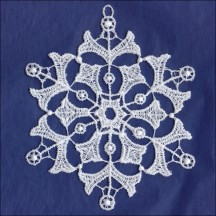 White Lace Snowflake Ornament ~ 4""