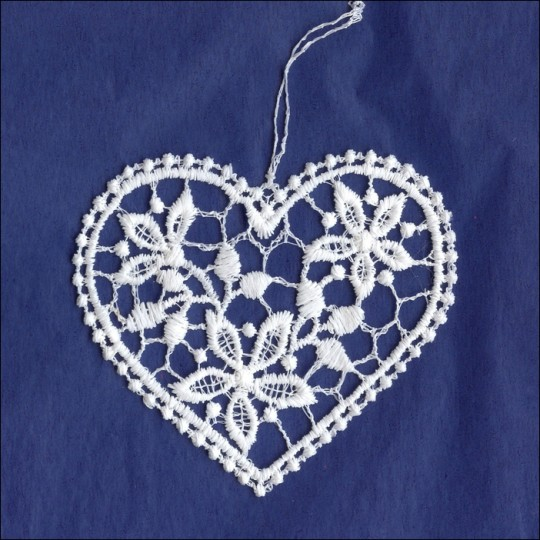White Lace Floral Heart Ornament ~ 3""