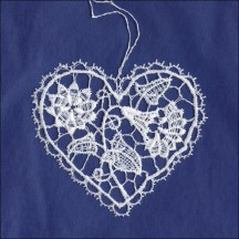 White Lace Springtime Floral Heart Ornament ~ 3""