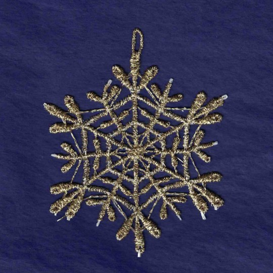 Gold and White Lace Open Snowflake Ornament ~ 3""