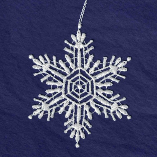 White Lace Snowflake Ornament ~ 3""