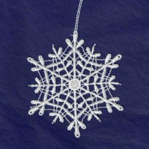 White Lace Classic Snowflake Ornament ~ 3-1/4""