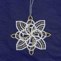 """Gold and White Lace Swirl Snowflake Ornament ~ 2-3/4"""""""