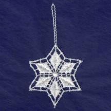 Petite White Lace Diamond Snowflake Ornament ~ 2""