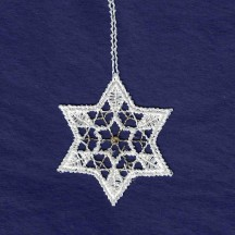 Petite Gold and White Lace Star Snowflake Ornament ~ 2""