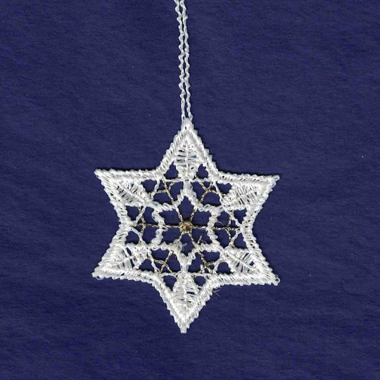 """Petite Gold and White Lace Star Snowflake Ornament ~ 2"""""""