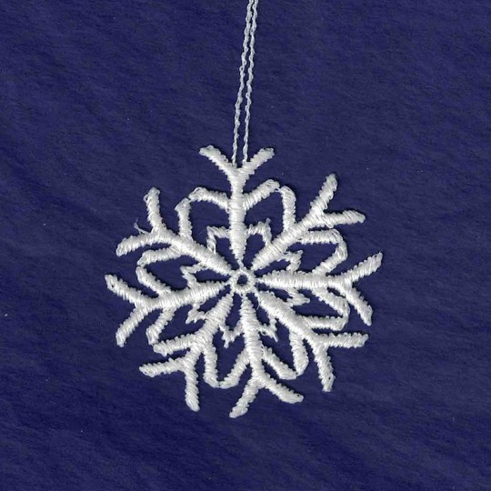 Petite White Lace Icy Snowflake Ornament ~ 2""