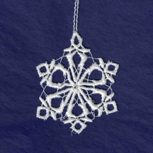 Petite White Lace Icy Snowflake Ornament ~ 1-3/4""