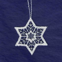 """Petite Silver and White Lace Star Snowflake Ornament ~ 2"""""""
