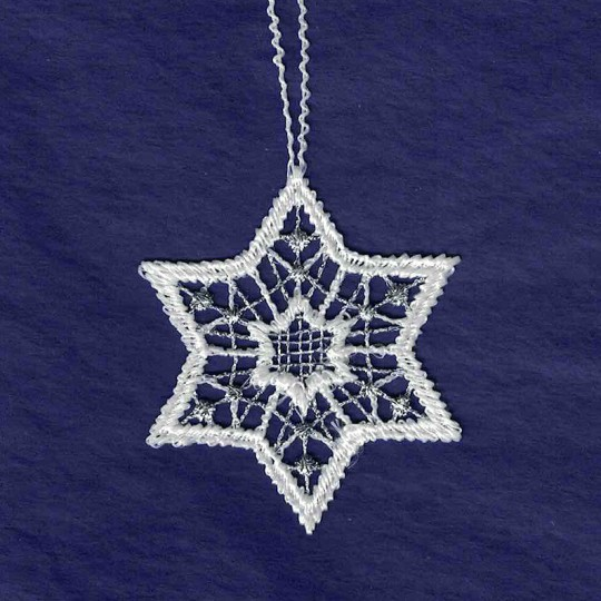 Petite Silver and White Lace Star Snowflake Ornament ~ 2""
