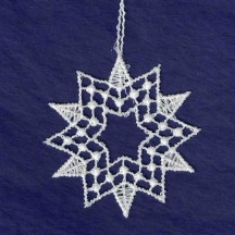 Petite White Lace Geometric Snowflake Ornament ~ 2""