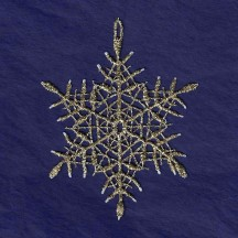 Gold and White Lace Icy Snowflake Ornament ~ 3""