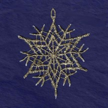 Gold and White Lace Star Snowflake Ornament ~ 3""