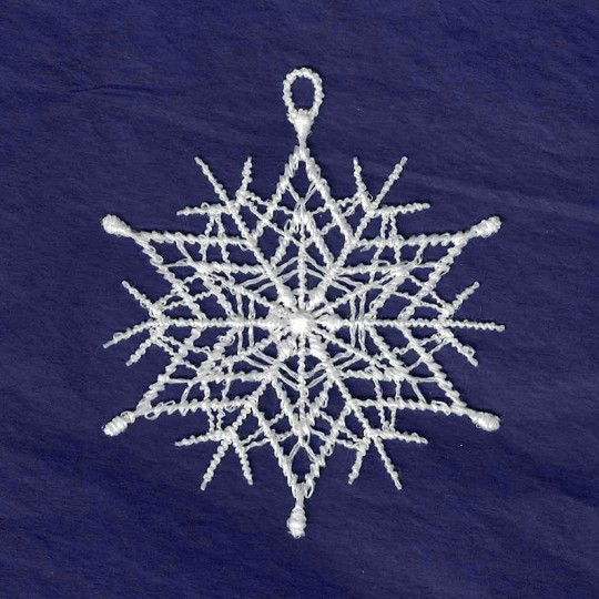 White Lace Classic Spiny Snowflake Ornament ~ 2-3/4""