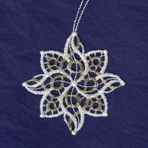 Gold and White Lace Swirl Snowflake Ornament ~ 2-3/4""