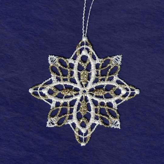 Gold and White Lace Petal Snowflake Ornament ~ 2-3/4""