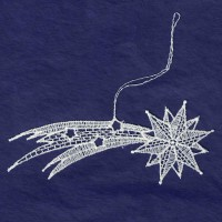 White Lace Shooting Star Ornament ~ 4-1/4""