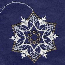 Gold and White Lace Fancy Snowflake Ornament ~ 3-1/4""