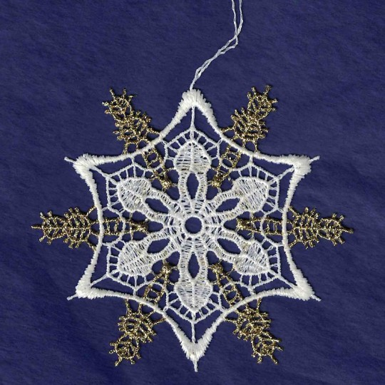 """Gold and White Lace Fancy Snowflake Ornament ~ 3-1/4"""""""
