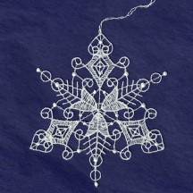 White Lace Scrolled Snowflake Ornament ~ 3-3/4""