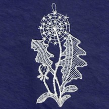 White Lace Dandelion Ornament ~ 3-3/4""