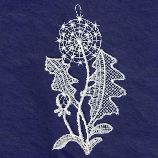 """White Lace Dandelion Ornament ~ 3-3/4"""""""