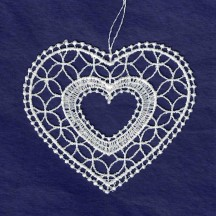 White Lace Heart Ornament ~ 3""