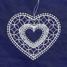 "White Lace Heart Ornament ~ 3"""