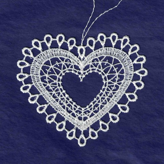 Valentine heart decoration Vintage inspired heart ornament with angel embelishment Spun cotton and lace ornament