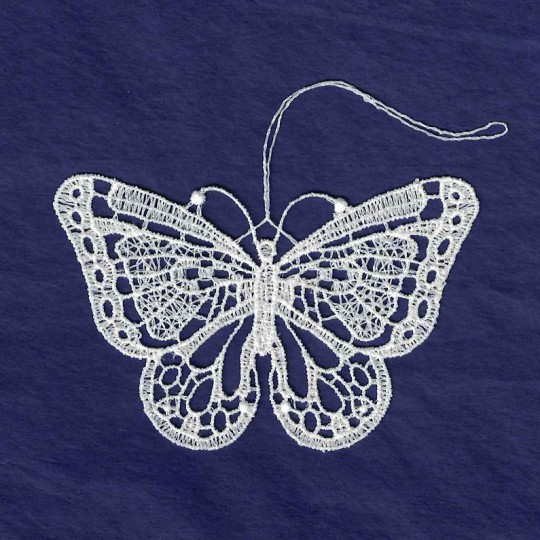 White Lace Butterfly Ornament ~ 3-1/8""
