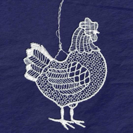 """White Lace Hen Ornament ~ 3-3/4"""""""