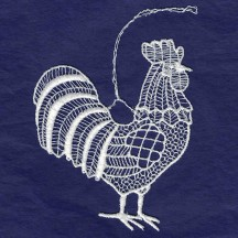 White Lace Rooster Ornament ~ 3-3/4""