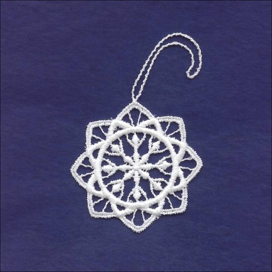 Petite White Lace Rounded Snowflake Ornament ~ 2""