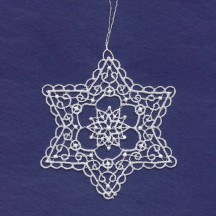 White Lace Swriled Star Snowflake Ornament ~ 3-1/2""