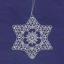 "White Lace Swriled Star Snowflake Ornament ~ 3-1/2"""