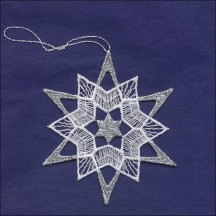 Silver and White Lace Star Snowflake Ornament ~ 3-1/2""