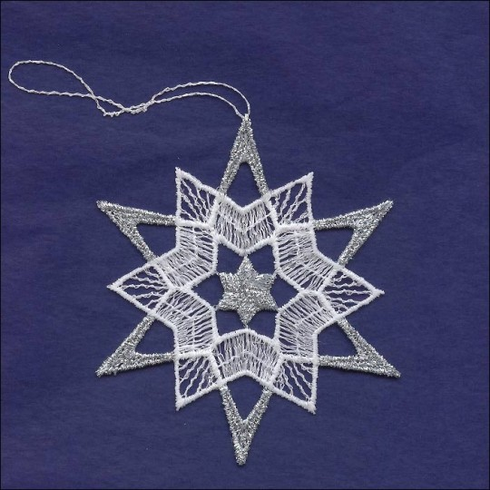 """Silver and White Lace Star Snowflake Ornament ~ 3-1/2"""""""