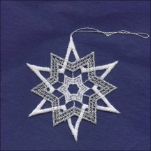 Silver and White Lace Pointed Star Snowflake Ornament ~ 3-3/4""