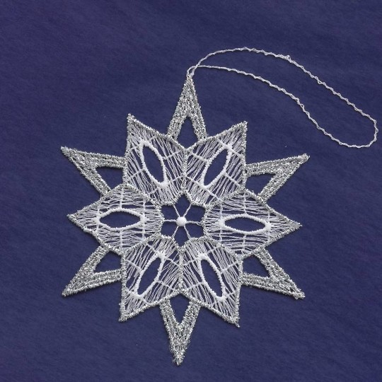 Silver and White Lace Fancy Snowflake Ornament ~ 3-1/2""