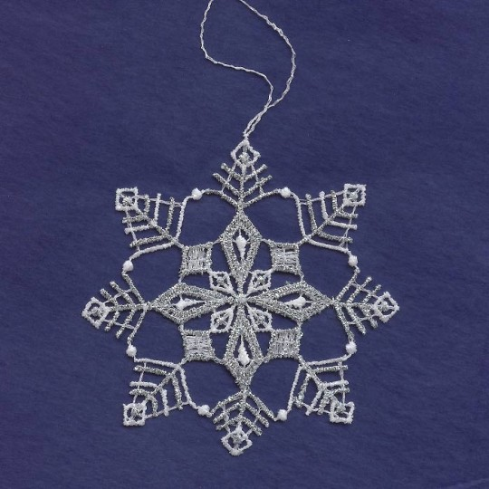 Silver and White Lace Open Snowflake Ornament ~ 3-1/2""