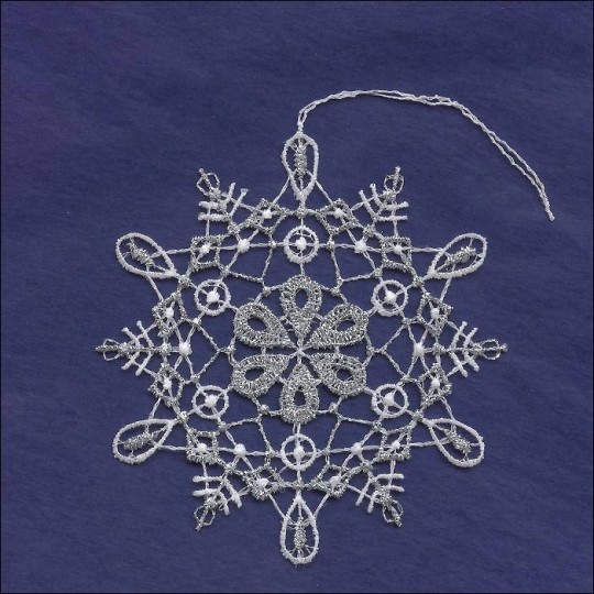 Silver and White Lace Loop and Flower Snowflake Ornament ~ 3-1/2""