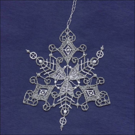 Silver and White Lace Scrolled Snowflake Ornament ~ 3-3/4""