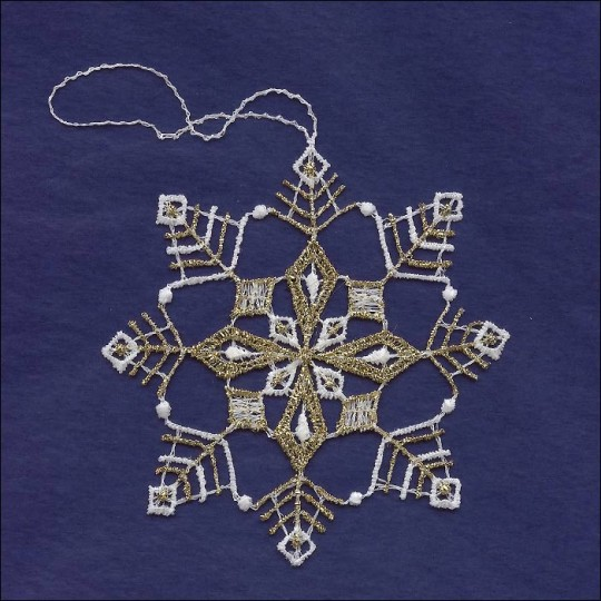 Gold and White Lace Open Snowflake Ornament ~ 3-1/2""