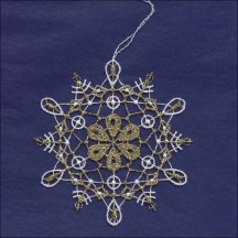 Gold and White Lace Loop and Flower Snowflake Ornament ~ 3-1/2""